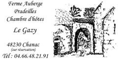 Ferme-Auberge PRADEILLES Chambres d'Hôtes Le Gazy, près de Chanac